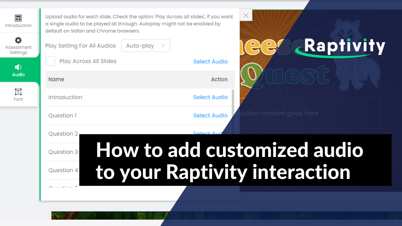 How to add customized audio to your Raptivity interaction