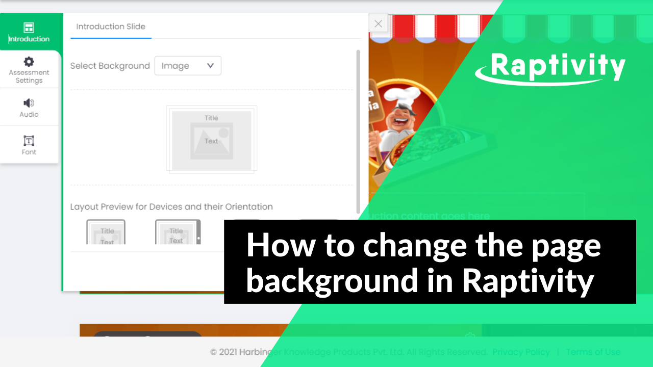 How to change the page background in Raptivity