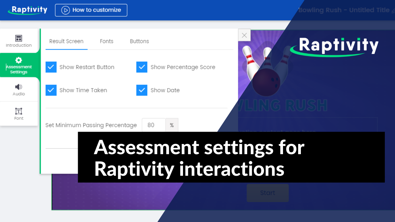 Assessment settings for Raptivity interactions